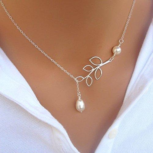 F-eshion Halskette mit Perlen, Silber-Kette.