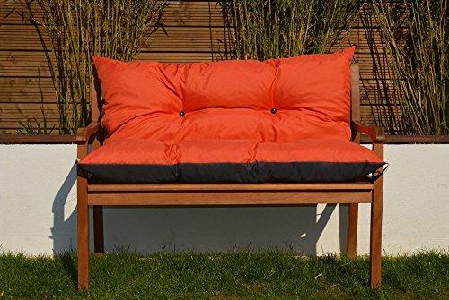 Gartenbankauflage Bankauflage Sitzpolster Bankkissen Sitzkissen und Rückenkissen Polsterauflage leicht zu reinigen (120 cm, Orange)