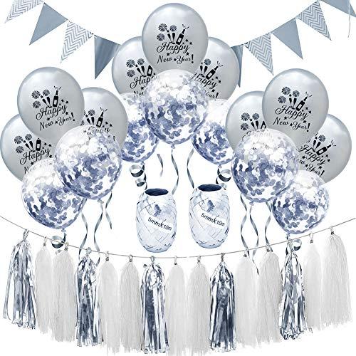 12 Pulgadas Feliz año Nuevo Globos,Espesar la Ronda Globos de látex Banner de Feliz cumpleaños Globos de Fiesta Decoración de año Nuevo Suministros de Fiesta-C