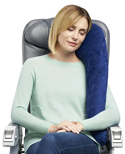 Travelrest All-In-One Premium Travel Pillow / Neck Pillow – Plush Washable Cover w/Memory Foam Inserts – Great For Airplanes, Autos, Trains, Buses, Wheelchairs, Office Napping (Pillow with Cover) (Blue)