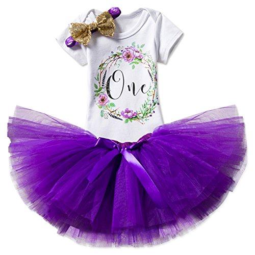 NNJXD Mädchen Newborn Crown Tutu 1. Geburtstag 3 Stück Blume Outfits Strampler + Rock + Stirnband Größe 1 Jahre Lila