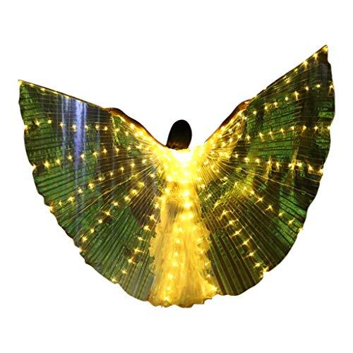 cinnamou Die bunten glühenden Flügel, die Flügel tanzen, färben S mit hölzernen Stöcken gelb Frauen LED Bauchtanz Flügel Bunte Flügel mit Teleskopstock