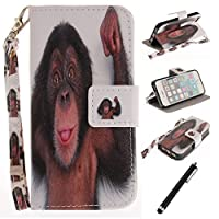 Beddouuk iPhone SE Case, Monkey Pattern Design PU Leather Wallet Flip Case Magnetic Closure Card Slots Stand Function Protective Case Full Body Bookstyle Case for iPhone SE 5 5S