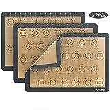 homgeek Tappetino da forno in Silicone, Set di 3 Carta da Forno Riutilizzabile, Antiaderente, Resistente al calore, 30x42cm