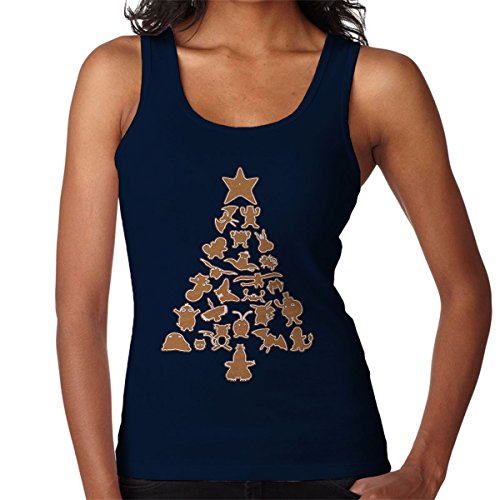 Pokemon Gingerbread Christmas Tree Women's Vest Navy blue