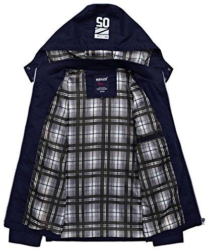 YYZYY Herren Baumwolle Frühling Herbst Freizeit herausnehmbar mit Kapuze Hooded jacken Mäntel Mens Jacket Khaki