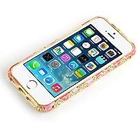 JAMMYLIZARD | Aluminium Bumper Hülle für [ iPhone 5 / 5s und iPhone SE ] mit Strass, Paisleymuster in PINK