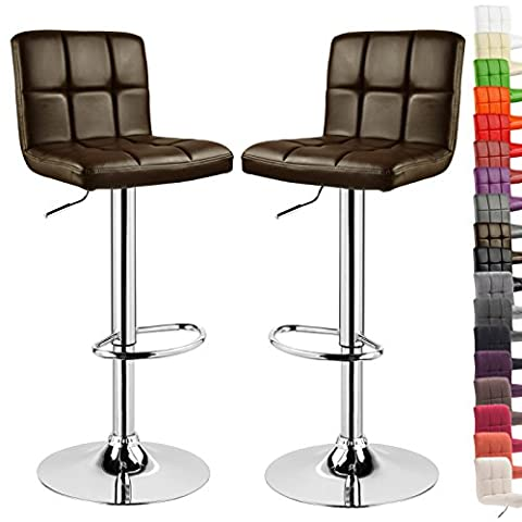 WOLTU 9106-a Set of 2 Swivel Bar Stools with Backs and Footrest Faux Leather Breakfast Kitchen Chair Stools Height Adjustable from 60 to 82cm,Dark Brown