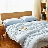 Kexinfan Bettbezug Cotton Stricken Baumwolle Vierteilige Bettdecke Bettbezug Baumwolle Baumwolle Gestreifte Bettwäsche, Blatt-Typ, Hellblaue Kleine Feine Linien, 1,5 M (5 Fuß) Bett