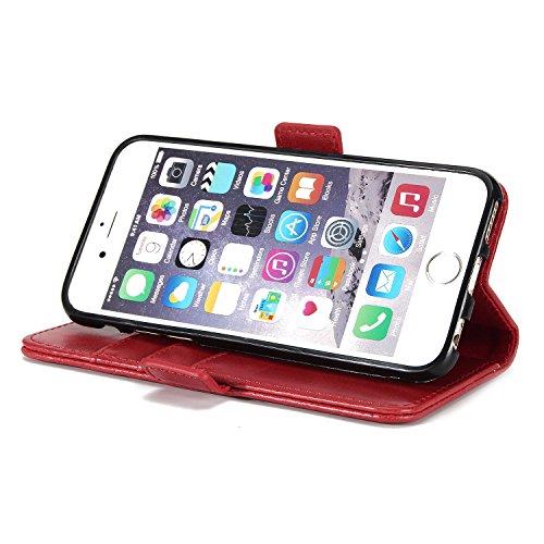 BCIT iPhone 6 Hülle - [Premium Leder Serie] Schutzhülle PU Leder Flip Tasche Case mit Integrierten Kartensteckplätzen und Ständer für iPhone 6 - Rot Rot