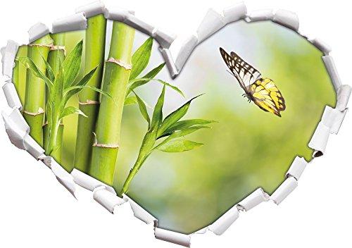 Bambù a forma di cuore farfalla nel formato sguardo, parete o adesivo porta 3D: 62x43.5cm, autoadesivi della parete, decalcomanie della parete, decorazione della parete