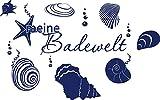 Graz Design 650140_30_049 Wandtattoo Deko für Bad Sprüche Wand Aufkleber Sticker meine Badewelt mit Muscheln und Blasen 48x30cm Königsblau