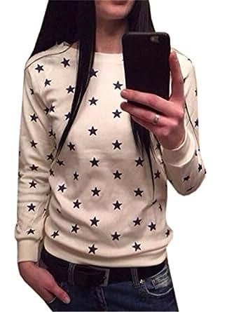 COCO clothing Damen Herbst Kleine Sterne Gedruckt Freizeit Pullover Rundhals Langarm Sweatshirt Frauen Sport Blusen PulliJumper T-Shirt (S, Beige)