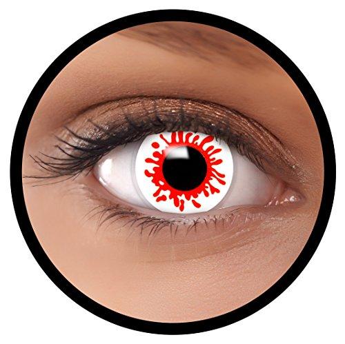 Farbige Kontaktlinsen weiß Splatter + Behälter, weich, ohne Stärke in als 2er Pack (1 Paar)- angenehm zu tragen und perfekt für Halloween, Karneval, Fasching oder Fastnacht Kostüm