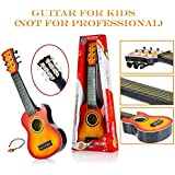 Flick In Guitar Toys For Kids Fully Functional With Pick|6 String Classical Orange Big Size Guitar Toy |Musical Acoustic Guitar With Adjustable Tunning Knob |Musical Instruments For Beginners Boys|High Quality Plastic Guitar Toy 21 Inch With Wood Finish F