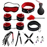 CEREZAS - 11 PCS Bed Restraint Set Includes Satin Blindfold Hand Ring Comfortable y Durable for Men and Women