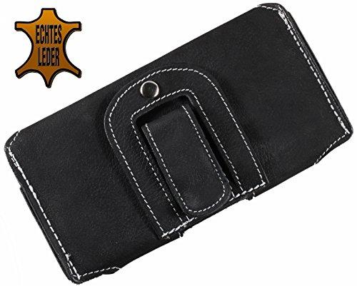 Matador Apple iPhone 8 Ledertasche Handytasche Gürteltasche ECHT Leder Hülle Case mit Gürtelclip, Schlaufe und Magnetverschluss Schwarz Crazy Black
