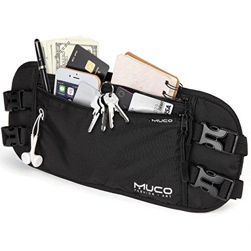 MUCO Viaje Riñonera, Titular del Pasaporte,Bloqueo RFID Cadera para Mujeres y Hombres, Bolsa de Cintura de Viaje