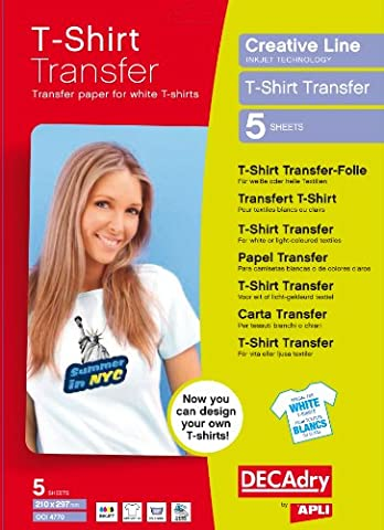 Decadry T-Shirt Light Transfers Paper - White (Pack of (Trasferimento Termico Materiale)