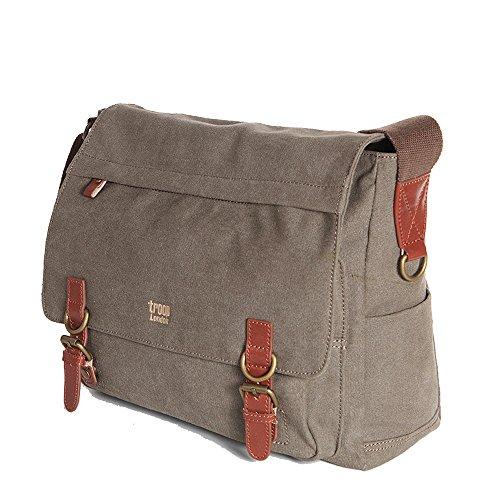 Handbag Queen UK - Grand sacoche marron unisexe sac ordinateur portable toile messager \\