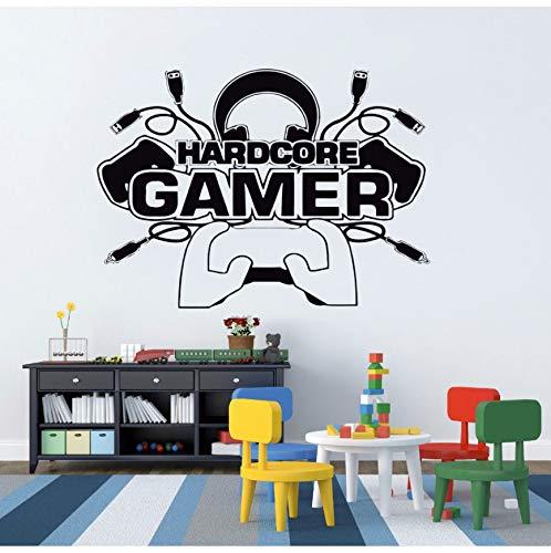 Aelaher wall sticker hardcore gamer decalcomania da muro per la decorazione della casa della parete video rimovibile camera da gioco vinyl sticker art decor murale 42x31 cm