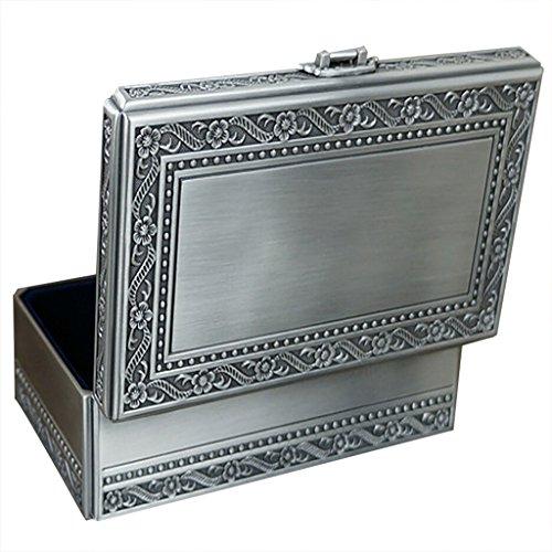 Infinite U stile vintage argento antico Simple Patterns intagliato forma rettangolo grande portagioie a donne/ragazze grande