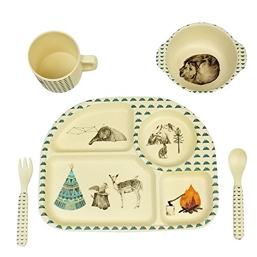 OEM 5 piece/set baby bamboo tableware dish set