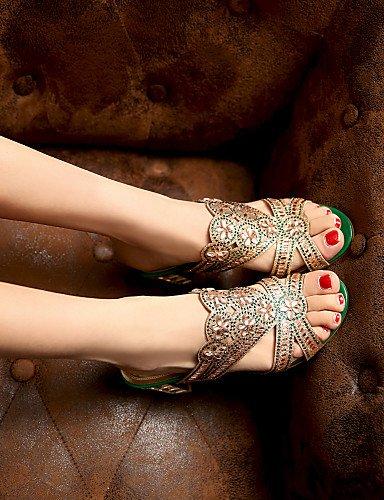 UWSZZ Die Sandalen elegante Comfort schuhe Donna-Sandali/Schuhe - Freizeit/formellen/Casual-Tacchi/abgerundete Spitze - Quadrato-Finta Haut - Schwarz/Grün/die rot-US 8 / EU 39/UK6/CN 39, rot-US 8 / EU golden