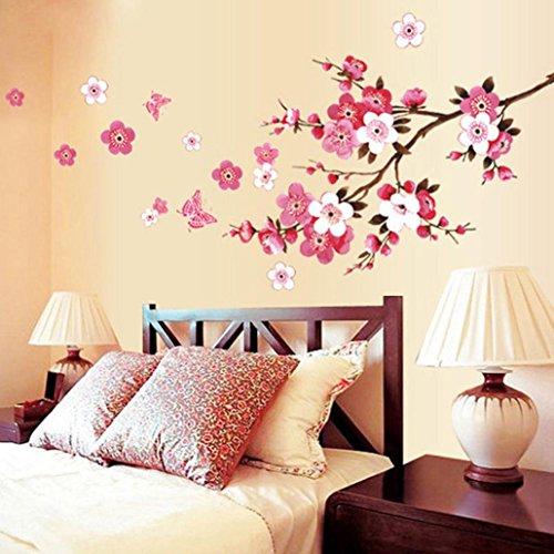 Pegatinas de pared,Dragon868 Sala de durazno flor mariposa pegatinas de pared