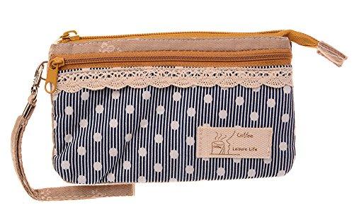 KISS GOLD (TM) Mini Handytasche Geldbeutel mit Polka Dots für Damen und Mädchen Blau