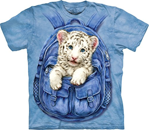 The Mountain Kinder Backpack White Tiger Kids Tee T-Shirt, Blau, M (T-shirt Tiger Athletic)