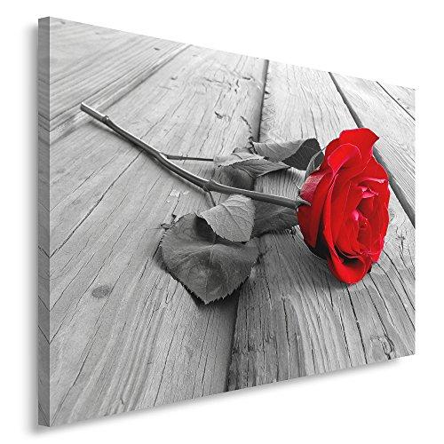 Feeby, Leinwandbild, Bilder, Wand Bild, Wandbilder, Kunstdruck 30x40cm, Blume, Rose, Holz, EINE Farbe, WEIß, ROT