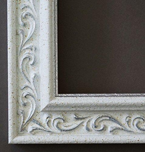 Spiegel Wandspiegel Badspiegel Flurspiegel Garderobenspiegel - Über 200 Größen - Verona Weiß Silber 4,4 - Außenmaß des Spiegels 70 x 100 - Wunschmaße auf Anfrage - Antik, Barock