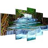 Bilder Wasserfall Landschaft Wandbild 200 x 100 cm Vlies - Leinwand Bild XXL Format Wandbilder Wohnzimmer Wohnung Deko Kunstdrucke Blau 5 Teilig - MADE IN GERMANY - Fertig zum Aufhängen 603551b