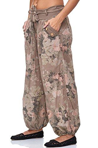JillyMode wunderschöne Leichte Haremshose aus Baumwolle in viele Muster Gr.34-Gr.40 OneSize H132-Schlamm