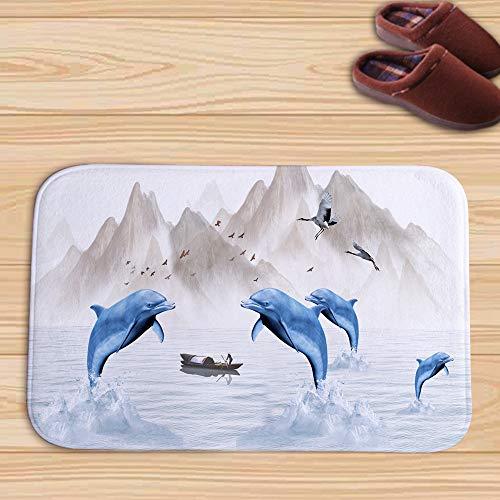 WJ Fußmatte Unterwasserwelt Fußmatte Badteppich Badteppich Küchenmatte Saugmatte, Multicolor 3, 45 * 75cm -