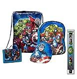 Set cinque pezzi Avengers, zaino asilo, portafoglio con portamonete, sacca-zaino piscina, orologio e cappellino regolabile. Marvel originali con cartellino e licenza ufficiale.
