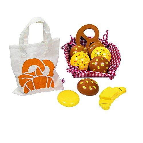 Goki 51704 - Kaufläden und Zubehör - Kaufladen Miniaturen Brötchen, mit Baumwollbeutel und Korb (Obst Korb Holz Aus)