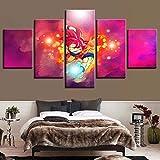 5 Stücke Segeltuch Drucken Leinwanddrucke Dragon Ball Bilder Drucke Bild auf Leinwand für Modern Zuhause Wand Dekor Leinwandbild Vegeta Poster Dekorationen,A,20x35x2+20x45x2+20x55cmx1