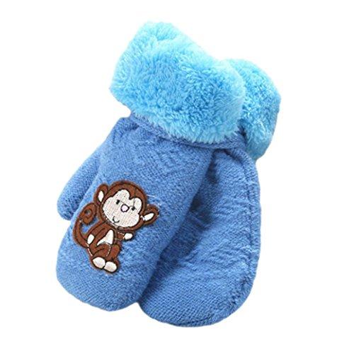 Handschuhe Longra, Nette verdicken heiße Säuglingsbaby-Mädchen-Jungen der Winter-warmen Handschuhe(1 bis 8 Jahren) (Sky Blue)