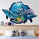 GoldenCart 3D Dolphin Wall Sticker - Cute Underwater Dolphins Popping Out Of A Live Sea Fish Aquarium To Play With You And Your Beloved Family In Bathroom, Living Room, Bedroom And For Stunning Home Decoration (93 Cm * 63 Cm Finished Size On Wall, Self-ad