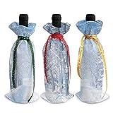 Schöne Winterlandschaft 3 Stück Weihnachtsdekoration Weinflaschenhülle Taschen Weihnachtsmann Schneemann Muster Flasche Geschenkpapier Party Festival Dekoration