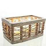 Deko Windlicht im Holz-Korb mit Zwei Teelichtgläsern Glas Vintage