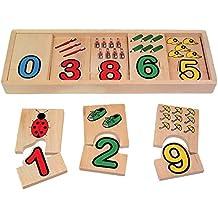Zahlen-Zuordnung aus Holz, mit bunten Bildern und Zahlen, ideal zum Mitnehmen, schult das Verständnis für Zahlen und Mengen, für Kinder ab 3 Jahren