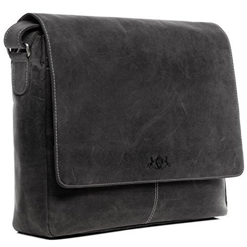 SID & VAIN® Laptop-Messenger bag SPENCER - Herren Umhängetasche groß Ledertasche fit 15 Zoll Laptop mit herausnehmbarer Schutzhülle- Laptoptasche Damen Herren echt Leder schwarz (Leder-15 Zoll Messenger Bag)