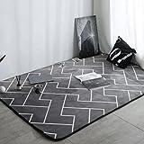 YHJ alfombra Lavable a máquina plumas negro dormitorio alfombra cocina de la sala de estar con esteras de casa ( Tamaño : 150*195cm )