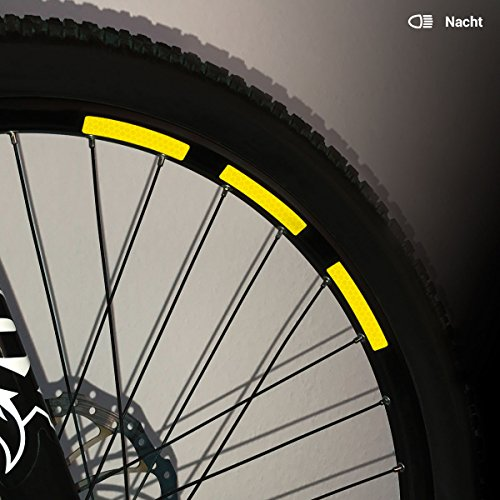 Motoking Fahrrad-Reflektorenaufkleber mit Waben-Reflex-Optik - Gelb - 22 Aufkleber im Set - Breite: 10 mm - reflektierende Felgenaufkleber für Mountainbike-, Fahrradfelgen & mehr