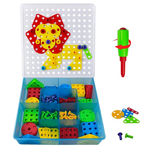Mosaic for Kids, Mosaic Puzzles Toy Building Blocks with a Screwdriver and Screws 180 Pcs for Kids Over 3 Years