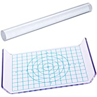 ULTNICE 2pcs Clay Rolling Pin Acrylic Clay Roller Acrylic Sheet Board with Grid Essential Modelling Tools