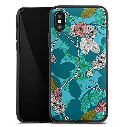 Apple iPhone X Silikon Hülle Case Schutzhülle Kirschblüten Blüten Muster Silikon Case schwarz